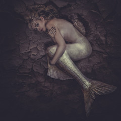 mermaid trapped in a sea of mud, concept fantasy fish woma