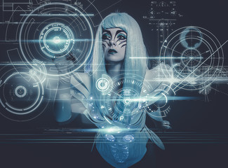 telecommunications woman controlling a future panel of lights an