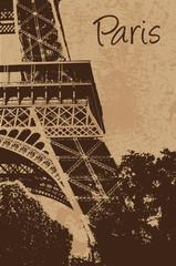Vintage Eiffel tower vector card