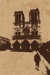 Vintage Notre Dame Cathedral vector card