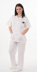 young nurse on white background
