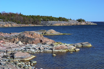 Coastline of Baltic Sea in Hanko, Finland
