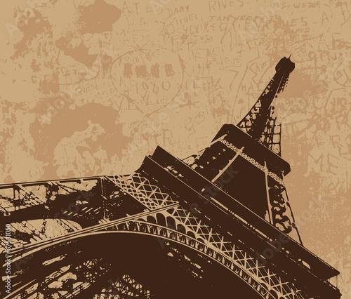 Vintage Eiffel tower vector card - 67531050