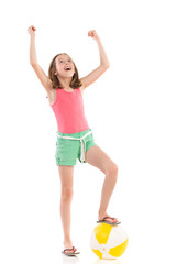 Shouting girl with beach ball looking up