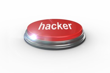 Hacker against digitally generated red push button