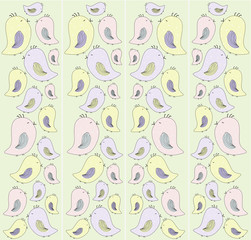 Pattern birds. Pastel colors.Spring summer feelings.