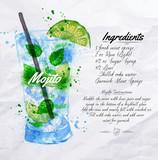 Fototapety Mojito cocktails watercolor