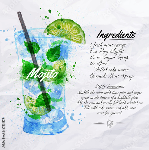 Fototapeta Mojito cocktails watercolor