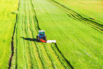 Tractor mowing green field