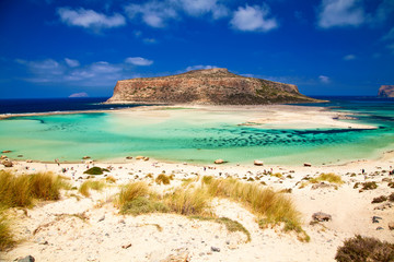 beach with yellow sand at Balos lagoon
