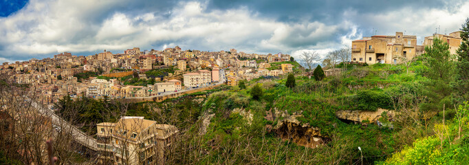 panoramic view of the town Enna, Sicily