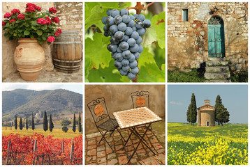 Chianti collage, collection of images from Tuscany