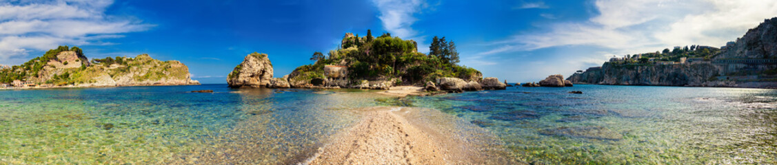 panorama of Isola Bella in Taormina