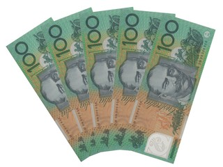 Five Australian 100 dollar notes