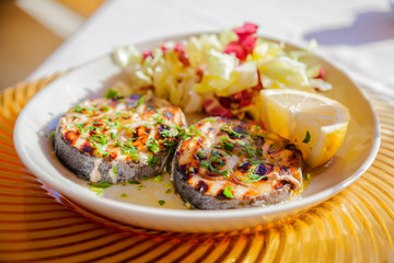 Grilled swordfish steaks