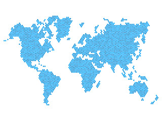 Dotted Blue World Map Isolated on White. Vector