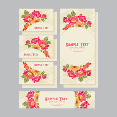 Set of wedding invitations card 01