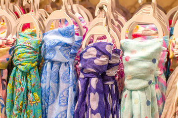 colored scarves tied like a tiet