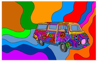 furgone anni '70 su sfondo colorato