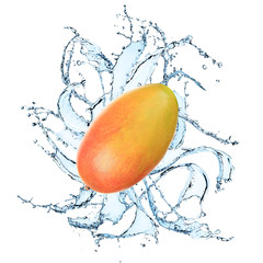 Mango with water splash
