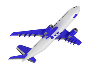 White blue passenger airliner