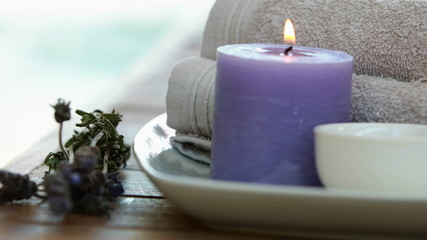 Beauty treatment in bowl presented on plate with dried lavender