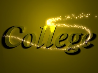 college- 3d inscription with luminous line