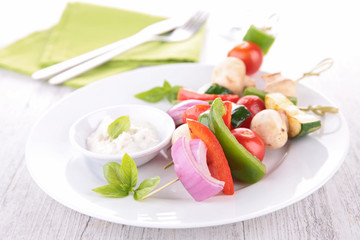 vegetable kebab and cream