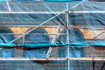 scaffolding on house facade