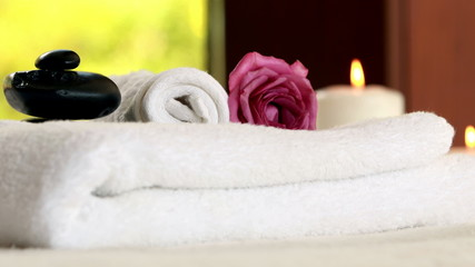Fresh towels with black stones
