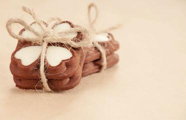 heart shape little chocolate cookies