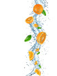 canvas print picture - Oranges with water splash