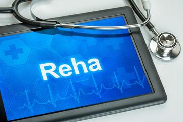 Tablet mit dem Text Reha auf dem Display