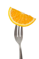 Slice of orange held by a fork isolated on white background