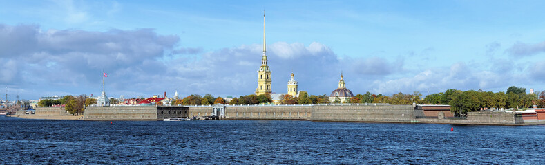 Panorama of the Peter and Paul Fortress in Saint Petersburg