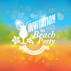 Invitation to beach party. Tropical background.