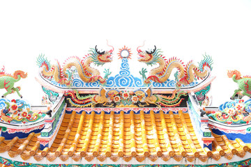 Dragon sculpture in Chinese temple.