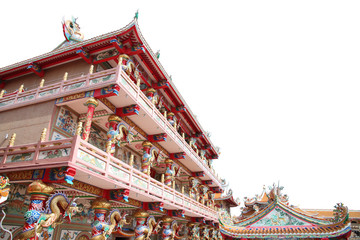 Chinese temple in art sculpture for interior background.