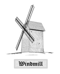Windmill - vector illustration.