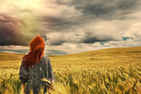 Fototapety fashion young red hair woman standing back outdoor on breathtaki