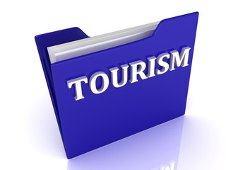TOURISM bright white letters on a blue folder