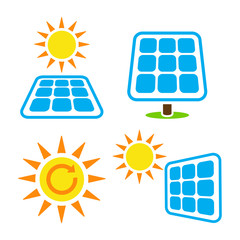Solar panel - eco eergy icons set