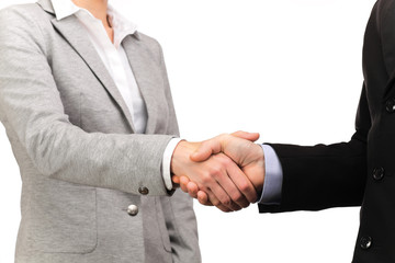 handshake between businessman and business woman
