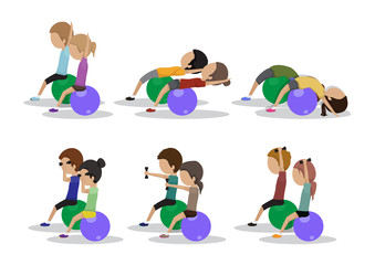People At Aerobics Class - Isolated On White Background