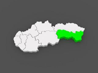 Map of Kosice Region. Slovakia.