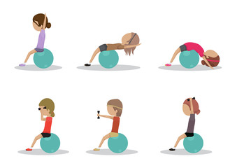 People At Aerobics Class With Balls