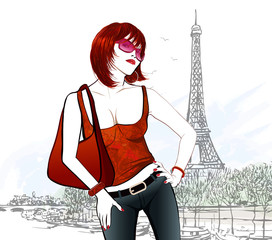 Young woman in Paris near Eiffel tower and Seine river