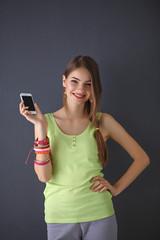 Cute happy casual teenage woman .