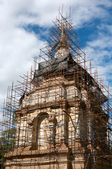 Wooden scaffolding for pagoda construction