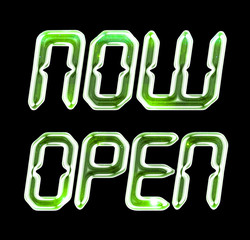 A digital NOW OPEN sign with green glow